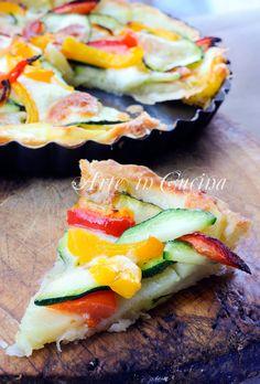 Sfogliata con zucchine patate peperoni e formaggio vickyart arte in cucina