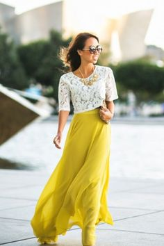 high waist maxi skirt with lace crop top