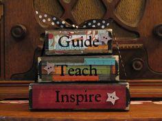 Teacher Gift -  Guide, Teach, Inspire Word Blocks  Teacher Sign. $15.00, via Etsy.