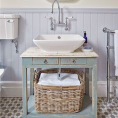 Rustic-style bathroom with upcycled basin console