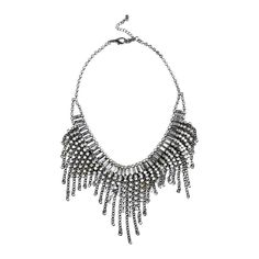 Dusk Metal Polygon Facet Jewel Tassel Choker Necklace