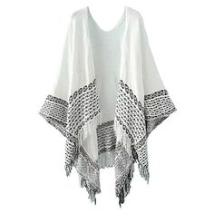 Isle of Summer Cotton Fringed Poncho (€26) ❤ liked on Polyvore featuring outerwear, cardigans, jackets, kimono, poncho, white, fringe kimono, white fringe kimono, white kimono and summer kimono