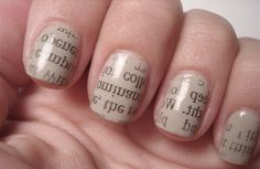 You will need:  A pale nail varnish  A sheet of newspaper  Scissors  An eggcup of vodka (or any other alcohol)  A clear nail varnish or topcoat    Cut the newspaper into 10 pieces, roughly two inches wide and one inch long (more than enough to cover a fingernail).  Apply two coats of pale nail polish and let it dry completely.  Dip one fingernail in the vodka.  Press a strip of newspaper onto the nail, being careful to cover the whole nail and to keep it still. Allow the vodka to soak through...