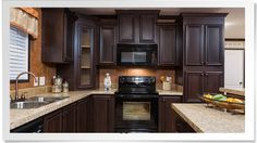 Coffee Cherry cabinets from Champion Homes Omg love love love! - Coffee Cherry cabinets from Champion Homes Omg love love love! Modern Kitchen Cupboards, Kitchen Cupboard Designs, Painting Kitchen Cabinets, New Kitchen, Kitchen Design, Kitchen Decor, Kitchen Ideas, Kitchen Inspiration, Remodeling Mobile Homes