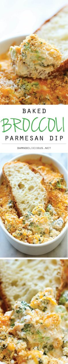 Baked Broccoli Parmesan Dip: A wonderfully hot and cheesy broccoli dip that is sure to be a crowd pleaser – people will be begging you to make more!