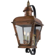 Chart House from Visual Comfort designed by Sandy Chapman Hampshire Small Scroll Arm Lantern in Natural Copper CHO2051NC
