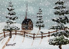 Toasty Cabin 5x7 inch Canvas Panel ORIG Landscape PAINTING PRIM FOLK ART Karla G..new painting for sale, just added to store..check it out..  # Folk Art Abstract Primitive Landscape Winter Snow