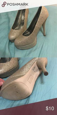 Gold glitter heels Gold glitter heels 8w Shoes Heels