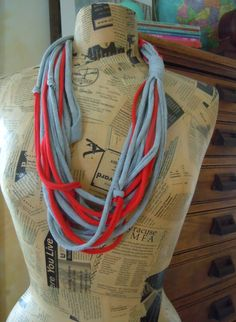 Gray & Red Handmade T-Shirt Scarf, Recycled Shredded Jersey Infinity Scarf, Color Therapy #0003 by ReTHINKinIt on Etsy