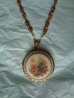 Vintage large flower pendant necklace gold pearl by hopechestgifts, $11.00