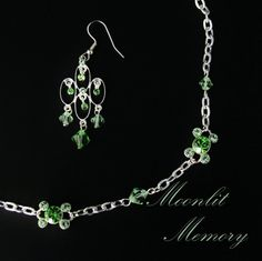 Spring Green Jewelry Set from two-tones of Swarovski crystals. Princess necklace and dangling chandelier earrings. (Pierced or clip.) By MoonlitMemory on Etsy