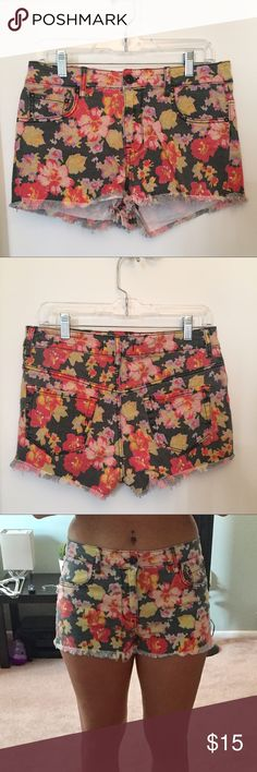 Floral Print High-Rise Shorts High-Rise • Dark grey background with pink, red, yellow, green and purple mixture of florals • Frayed edges • Worn a couple times // No flaws Bullhead Shorts Jean Shorts