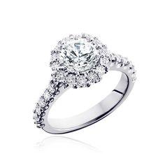 Lovely Halo Diamond and Moissanite Engagement Ring...moissanitebridal.com Yes, please!!!