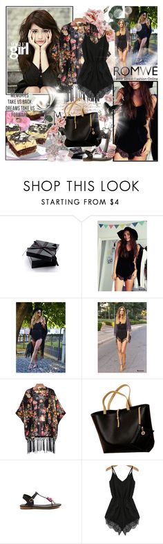 """""""ROMWE Black-Spaghetti-Strap-Lace-Chiffon-Jumpsuit"""" by wutheringheights55 ❤ liked on Polyvore featuring Post-It"""