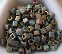 Just in. Miyuki 3mm Cube Beads Matte Metallic Khaki AB by BeadsToWeave, $4.00