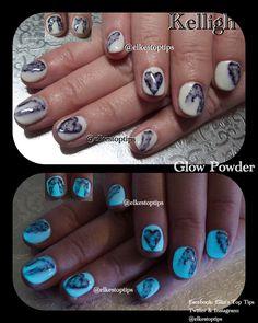 Sharpe nail art. Glow Powders from V's Nail Supplies. Natural nails. Nails by Elke's Top Tips