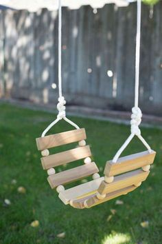 Rope and wood slat swing