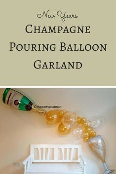 Champagne pouring balloon garland - a fun decoration for New Year's eve parties! #ad