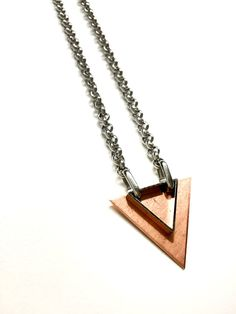 Mens Necklace w/ Triangle Pendant. Mixed Metal by pearlatplay