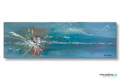 Oasis de liberté est le nom de ce tableau panoramique XXL bleu-gris. Son très grand format : 40x120cm permet de faire une décoration originale au-dessus d'un lit. C'est une véritable pièce unique, travaillée avec une peinture acrylique extra fine de qualité.