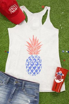 Patriotic Pineapple Graphic Tank - The Pink Lily Funny 4th Of July, Fourth Of July Shirts, 4th Of July Outfits, Summer Outfits, July 4th, Patriotic Outfit, Patriotic Shirts, Short Outfits, Cool Outfits