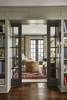 French pocket doors lead from the library to a cozy sitting room. Home sweet home French pocket doors lead from the library to a cozy sitting room. French Living Rooms, French Country Living Room, Modern Living, Minimalist Living, Small Living, Living Spaces, Living Room Paint, Living Room Grey, French Pocket Doors