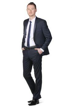 smoking de soire col chale bleu marine intense dymastyle pour 27000 - Smoking Mariage Hugo Boss