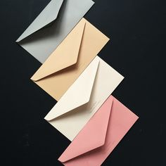 Stone, Camel, Linen, Rose – envelopes from Venamour (their stationery colour combinations are incredible)