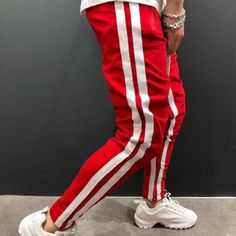 Ericdress Color Block Thin Lace-Up Summer Lace-Up Casual Pants Joggers With Zippers, Mens Joggers, Sweatpants, Men Trousers, Latest Mens Fashion, Sport Pants, Fashion Pants, Men's Fashion, Girly