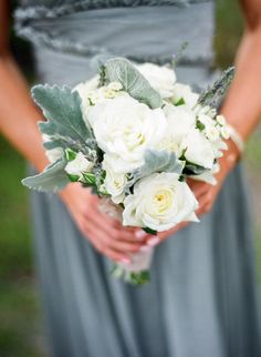 Silvery grey-green and creamy white  bouquet ~ perfect with the grey bridesmaid's gown. Photography by troygrover.com,  Floral Design by flowersannettegomez.com