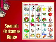"""Bingo de Navidad - Spanish Christmas Vocabulary Bingo.  With 30 pictures and vocabulary cards for a fun """"out of the book"""" activity with your Spanish classes."""