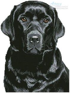 Black Labrador - cross stitch pattern designed by Tereena Clarke. Category: Dogs.
