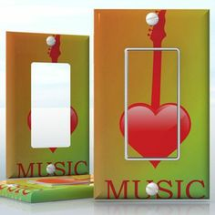 DIY Do It Yourself Home Decor - Easy to apply wall plate wraps | Music is My Life Heart shaped guitar wallplate skin sticker for 1 Gang Decora LightSwitch | On SALE now only $3.95