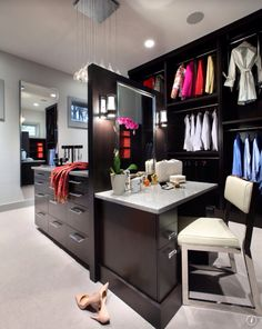 Makeup station in walk-in closet. Love!