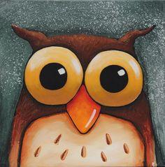 "Original acrylic painting canvas whimsical animal bird yellow eyes owl 12x12"" #Whimsicalfolkart"