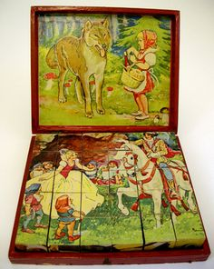 Picture cubes, depicting a variety of fairy stories, Czechoslovakian, c.1930