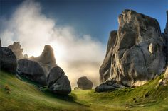 Surreal limestone rock formations at Castle Hill, Arthurs Pass, The South Island, New Zealand