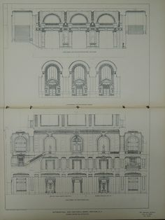 Entrance Hall Sections, New York Public Library, New York, NY, 1903, Orig. Plan. Carrere & Hastings.