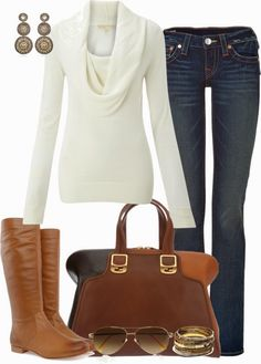 Casual Outfit - looks like my boots and purse!  Just need to find the sweater!