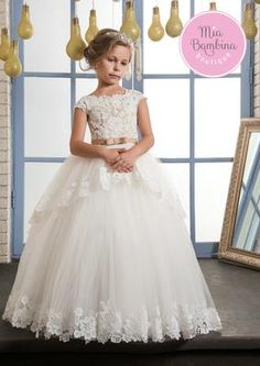 The Baltimore - a classy short sleeved floral girl dress with fitted lace bodice and full, flowy tulle skirt with an adorable scalloped lace overlay detail. The dress back features a zipper closure an Little Girl Wedding Dresses, Girls First Communion Dresses, Holy Communion Dresses, Pink Flower Girl Dresses, Baptism Dress, Girls Party Dress, Birthday Dresses, Girls Dresses, Flower Girls