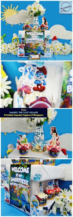 Looking for SMURFS THE LOST VILLAGE Party Ideas? Check out this Smurfs Mushroom House Printable Cupcake Toppers & Wrappers