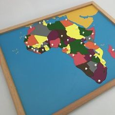 Knobs on each puzzle piece are positioned on the capitals of the countries in Africa. Local Map, World Geography, Africa Map, Montessori Materials, Puzzle Pieces, Kids House, Kids Rugs, Activities, Countries