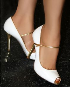 dfca1be32f85ed Simple white and gold heels Dream Shoes