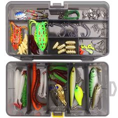 Fishing Lures Kit Mixed Hard Lures Soft Baits Crank Hooks Rolling Swivel Connector Fishing Accessories Set with Box - Fishing Gear Shop Fishing Box, Fishing Tackle, Fishing Lures, Gear Shop, Soft Bait, Fishing Accessories, High Carbon Steel, Hooks, Kit