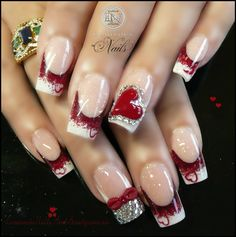 Red & White Valentine Nails with Heart, Bow & Crystals..