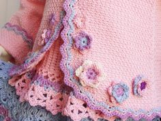Crochet Cardigan Girl Pattern - Pink Jacket with flowers and Wavy borders