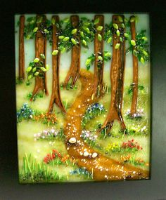 Fused Glass Painting Forrest Path by CDChilds on Etsy