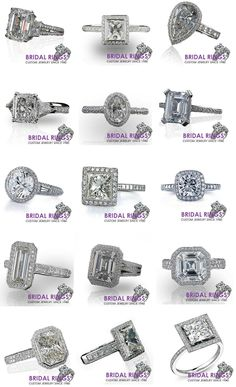 Different shapes of engagement rings.