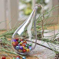 "Clear Plastic Crystal Teardrop Ball Ornament 5.5"" x 2.75"" 130mm"