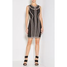 Herve Leger Imaan Zigzag Pointelle Knit Dress (95,050 PHP) ❤ liked on Polyvore featuring dresses, black, sleeveless dress, zipper dress, zigzag dress, applique dress and zig zag dresses